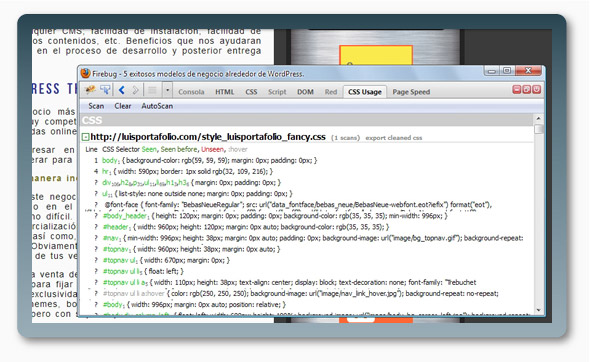Complemento FireFox CSS Usage