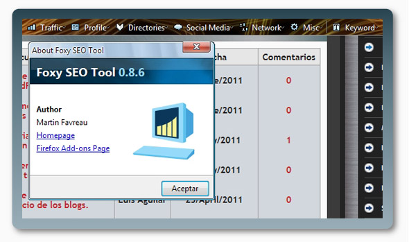 Complemento FireFox Foxy SEO Tool