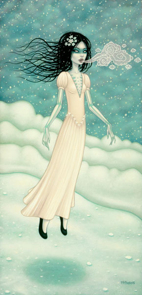 """The snow bride"", óleo sobre lienzo, 20""x40""."