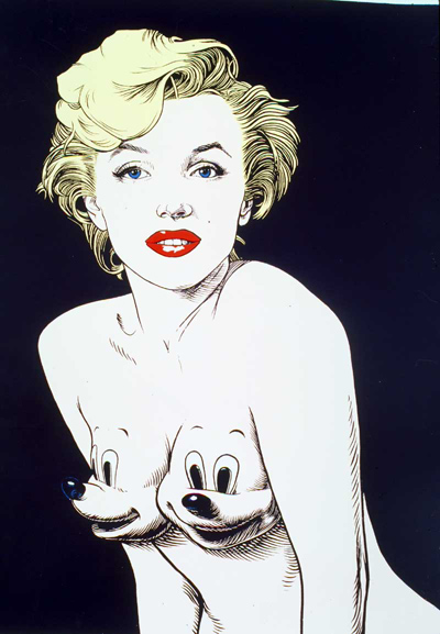 Monotone Three-Quarters Marilyn with Mickey Mounds